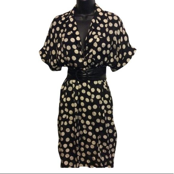 Albert Nipon Dresses & Skirts - Vintage Albert Nipon Black Dotted Silk Dress